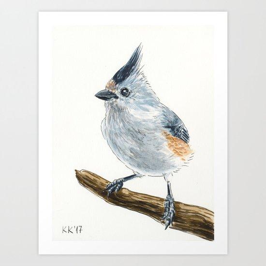 Titmouse bird watercolor Art Print