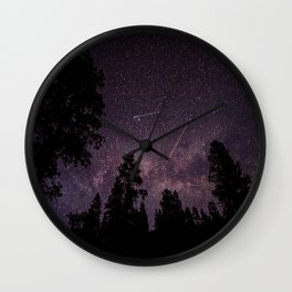Busy Sky - Shooting Stars, Planes and Satellites in Colorado Night Sky Wall Clock
