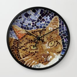 Tiger Cat - Stained Glass Mosaic Wall Clock