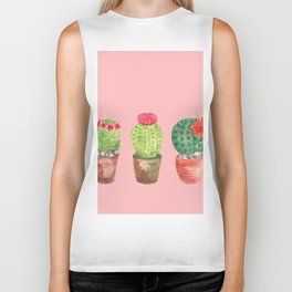 Three Cacti watercolor pink Biker Tank