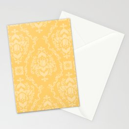 Vector Yellow Damask Pattern Stationery Cards