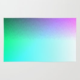 Six Color Ombre Cyan, Purple, Green, Pink, Purple, Blue, Spectrum Flame Rug