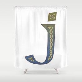 Celtic Knotwork Alphabet - Letter J Shower Curtain
