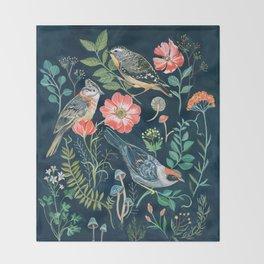 Birds Garden Throw Blanket