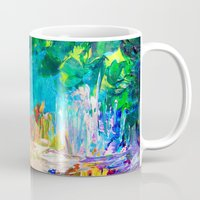 jazzberry Mugs featuring WELCOME TO UTOPIA Bold Rainbow Multicolor Abstract Painting Forest Nature Whimsical Fantasy Fine Art by EbiEmporium