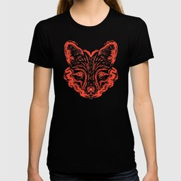 Muzzle foxes. Fox with sideburns, sketch strokes. T-shirt