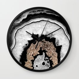 Gray Black White Agate with Gold Glitter #1 #gem #decor #art #society6 Wall Clock