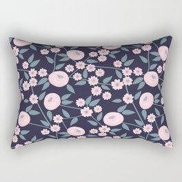 Little Flowers on Blue Rectangular Pillow