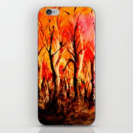 Dark Burning Forest iPhone Skin