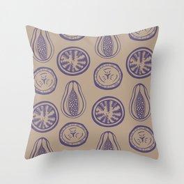 Papaya Passion Banana Smoothie- Purple Throw Pillow