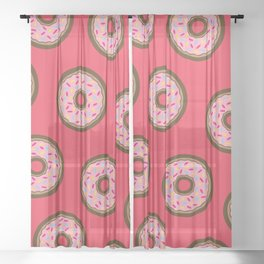 Pink Donut Pattern Sheer Curtain
