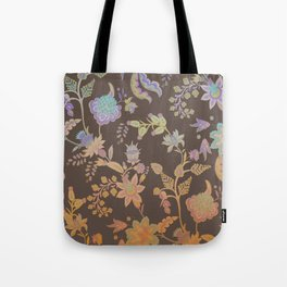 Chateau Brown Chinoiserie Decorative Floral Motif Chintz Tote Bag