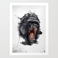 gorilla Art Prints featuring Gorilla by Arnaud Gomet