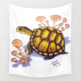 Box Turtle - Peach Mushrooms Wall Tapestry