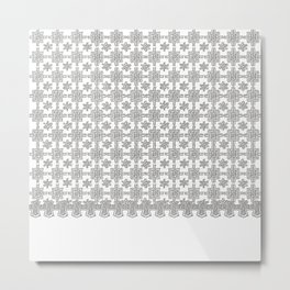 Vintage White Crochet Square Lace Pattern Metal Print