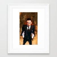 tom hiddleston Framed Art Prints featuring Tom Hiddleston by Wisesnail