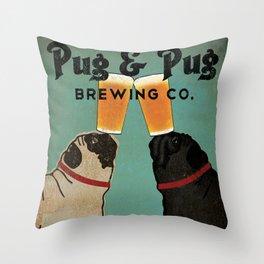 Pug & Pug Brewing Co. Throw Pillow