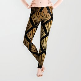 Bronze Gold and Black Diamond Fan Art Deco Pattern Leggings