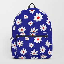 Daisy Pattern (blue/red/white) Backpack