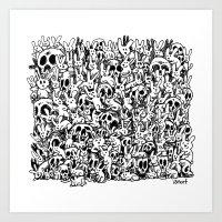 Bunnies & Skulls Art Print
