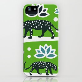 Wild felines and flowers iPhone Case