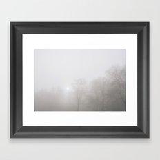 Early morning sun and trees in fog. South Pickenham, Norfolk, UK. Framed Art Print