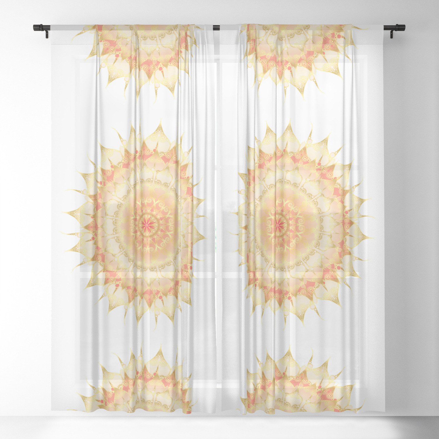 Delicate Mandala Orange On White Sheer Curtain By Pearlposition Society6