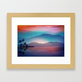 Sea and Palm Trees at Night Framed Art Print