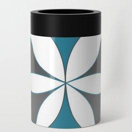 Mid-Century Modern Art 1.4B Grey Aqua Flower Can Cooler