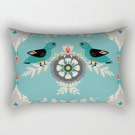 Scandi Bird Floral Turquoise Rectangular Pillow