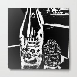 Sketched Buddha & Bottle Black on White Metal Print