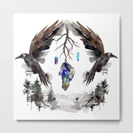 Black Ravens In The Crystal Woods Metal Print