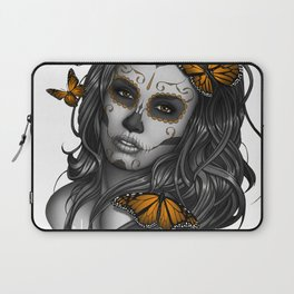 Sugar Skull Tattoo Girl with Butterflies Laptop Sleeve