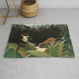 Henri Rousseau - Scouts Attacked by a Tiger Rug