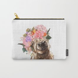 Highland Cow with Flower Crown Carry-All Pouch