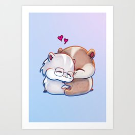 Hamsters HamHams Huggy Hugs Art Print
