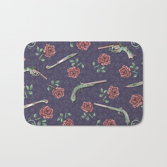 Elegant Guns Knives and Roses Bath Mat