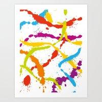 Splattered Rainbow [WHITE] Art Print