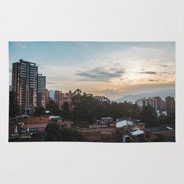 Cityscape of the barrio of El Poblado in Medellín, Colombia Rug