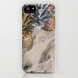 GOLD AND SILVER PINEAPPLES IN THE SAND iPhone Case