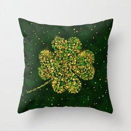 Irish Shamrock Four-leaf Lucky Clover Throw Pillow