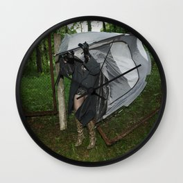 It's a Matter of Fact that it Always Rains on Tents Wall Clock