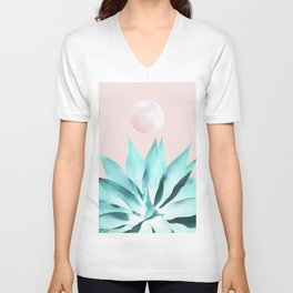 Stellar Agave and Full Moon - pastel aqua and pink Unisex V-Neck