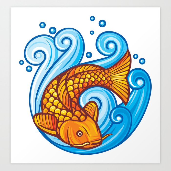 41d20727a69e5b koi carp fish in the sea waves (japanese or chinese inspired design) Art  Print