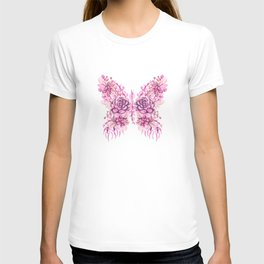 Flowery Pink Princess Butterfly T-shirt