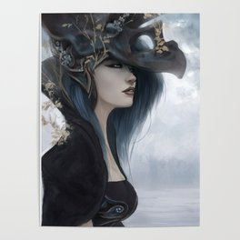 Bluish Black - Mysterious fantasy mage girl portrait Poster