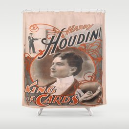 Vintage poster - Harry Houdini, King of Cards Shower Curtain