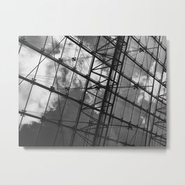 Glass Ceiling IV (Landscape) - Black and White Architectural Photography Metal Print