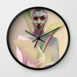 portrait with flower Wall Clock