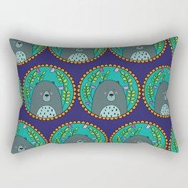 Bear Portrait Blue Rectangular Pillow